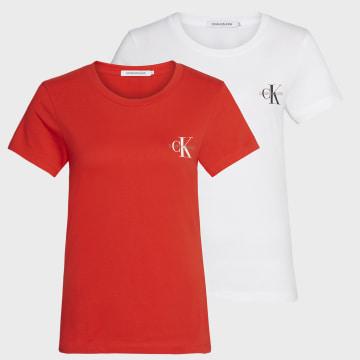 Calvin Klein - Lot De 2 Tee Shirts Slim Femme 4364 Blanc Rouge