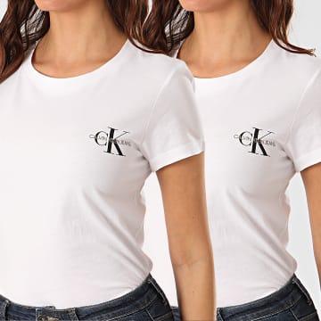 Calvin Klein - Lot De 2 Tee Shirts Slim Femme 4364 Blanc