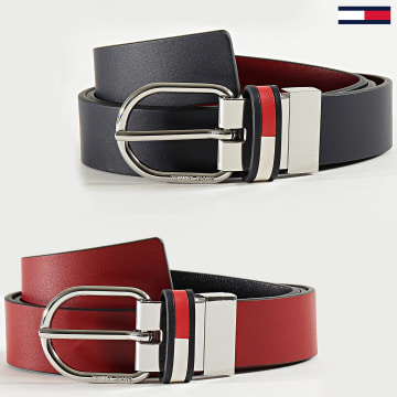 Tommy Jeans - Ceinture Réversible Corp Leather 8064 Rouge Bleu Marine