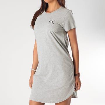 Calvin Klein - Robe Tee Shirt Femme QS6358E Gris Chiné