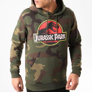 Jurassic Park - Sweat Capuche Jurassic Park Original Logo Camouflage Vert Kaki