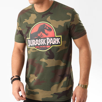 Films et Séries TV - Tee Shirt Jurassic Park Original Logo Camouflage Vert Kaki