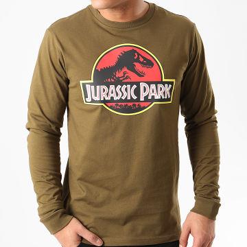 Films et Séries TV - Tee Shirt Manches Longues Jurassic Park Original Logo Vert Kaki