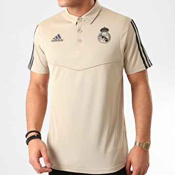 Adidas Performance - Polo Manches Courtes A Bandes Real Madrid EI7471 Beige