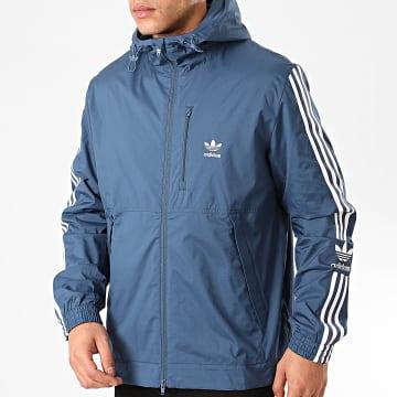 Adidas Originals - Coupe-Vent Zippé A Bandes Lock Up FM3817 Bleu Marine