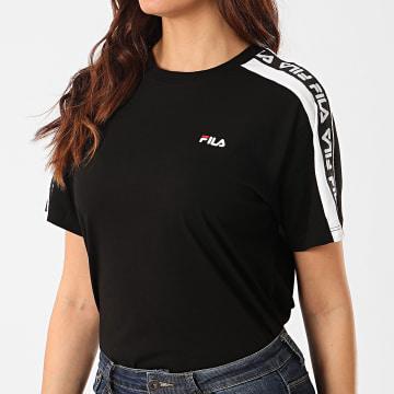 Tee Shirt Femme A Bandes Tandy Noir