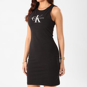 Calvin Klein - Robe Débardeur Femme Monogram Stretch 3701 Noir