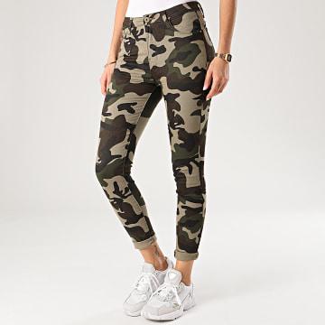 Jean Skinny Femme DZ222 Vert Kaki Camouflage