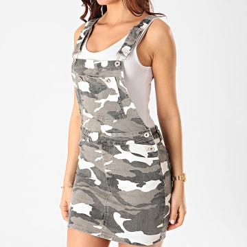 Girls Only - Robe Salopette Jean Femme DZ339 Gris Anthracite Camouflage
