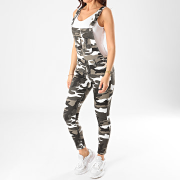 Girls Only - Salopette Jean Skinny Femme DZ336 Gris Anthracite Camouflage