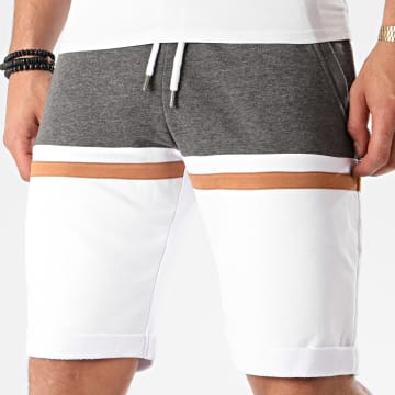 LBO - Short Jogging Tricolore 1058 Anthracite Blanc Camel