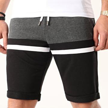 LBO - Short Jogging Tricolore 1059 Noir Anthracite Blanc