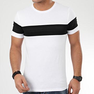 LBO - Tee Shirt Avec Empiecement Noir 1036 Blanc