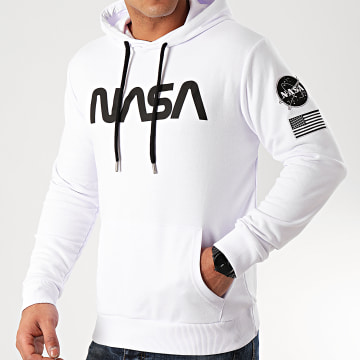 NASA - Sweat Capuche Patches Black And White Blanc