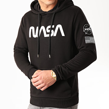 NASA - Sweat Capuche Patches Black And White Noir
