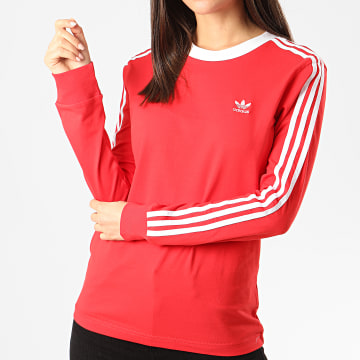 Adidas Originals - Tee Shirt Femme Manches Longues A Bandes 3 Stripes FM3294 Rouge