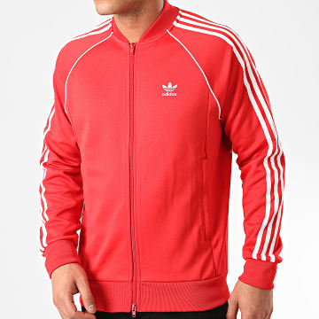 Adidas Originals - Veste Zippée A Bandes Stripes Track Top FM3809 Rouge