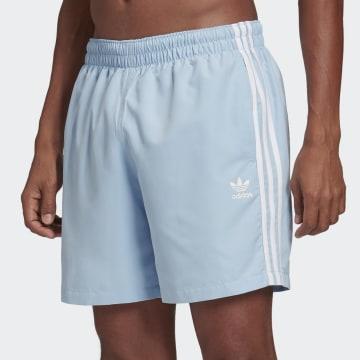 Adidas Originals - Short De Bain 3 Stripes FM9875 Bleu Ciel