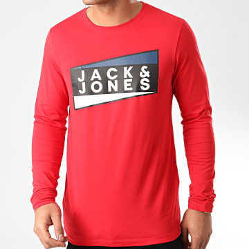 Jack And Jones - Tee Shirt Manches Longues Shaun Rouge