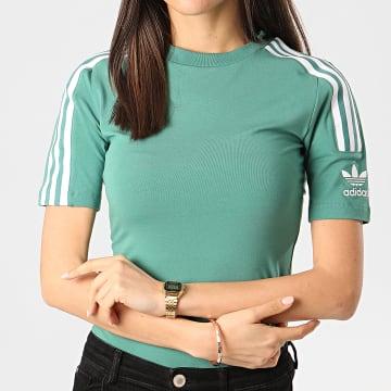Tee Shirt Slim Femme A Bandes FM2593 Vert Clair