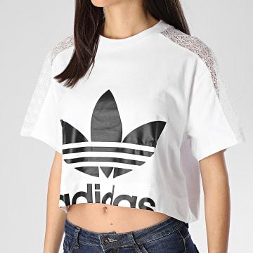 Tee Shirt Crop Femme A Bandes FL4128 Blanc