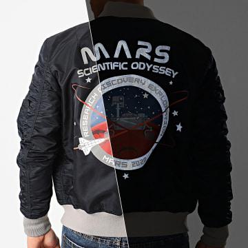 Alpha Industries - Bomber MA-1 Mission To Mars 126106 Bleu Marine Réfléchissant