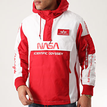 Alpha Industries - Coupe-Vent Capuche Odyssey 126134 Blanc Rouge