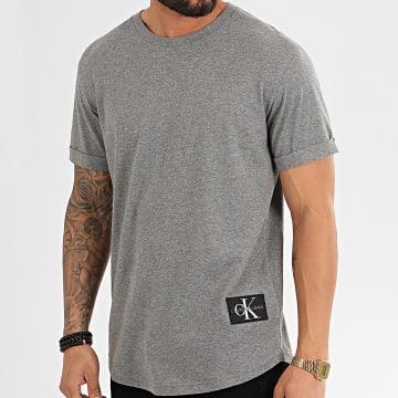 Tee Shirt Oversize Badge Turn Up 5319 Gris Chiné