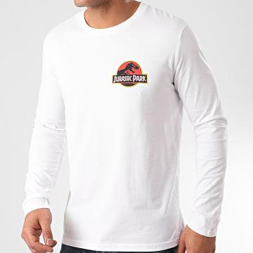 Jurassic Park - Tee Shirt Manches Longues Jurassic Park Original Logo Recto Verso Blanc