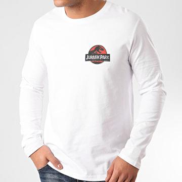 Jurassic Park - Tee Shirt Manches Longues Logo 3D Recto Verso Blanc