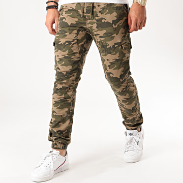 Indicode Jeans - Jogger Pant Camouflage Levi Vert Kaki