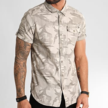 Chemise Manches Courtes Carlito Camouflage Beige