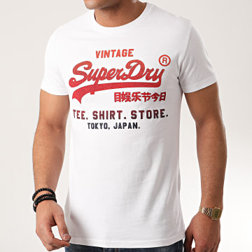 Superdry - Tee Shirt Fade Store M1010039A Blanc