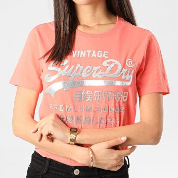 Superdry - Tee Shirt Slim Femme PG Metallic Entry W1010049A Rose Argenté