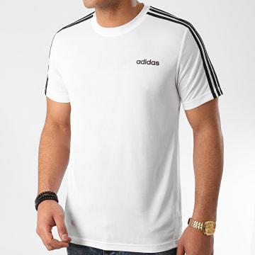 adidas - Tee Shirt A Bandes D2M 3 Stripes FL0356 Blanc