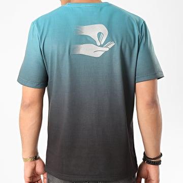Tee Shirt Bleu Clair Noir Dégradé Argenté