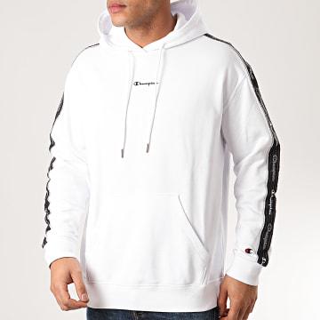 Sweat Capuche A Bandes 214225 Blanc