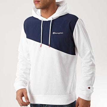 Sweat Capuche 214237 Blanc Bleu Marine