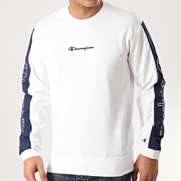 Sweat Crewneck A Bandes 214239 Blanc