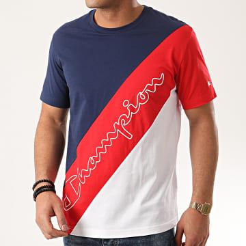 Tee Shirt Tricolore 214243 Bleu Marine Rouge Blanc