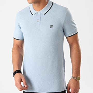 Selected - Polo Manches Courtes New Season Bleu Clair Chiné