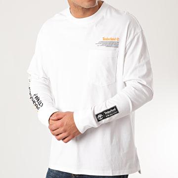 Timberland - Tee Shirt Manches Longues NNH Statement Print A212X Blanc
