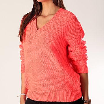 Vero Moda - Pull Femme Col V Glendo Rose Fluo