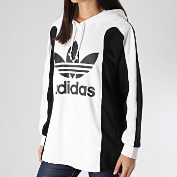 Sweat Capuche Oversize Femme A Bandes FL4127 Blanc Noir