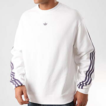 Sweat Crewneck A Bandes 3 Stripes Wrap FM1519 Blanc