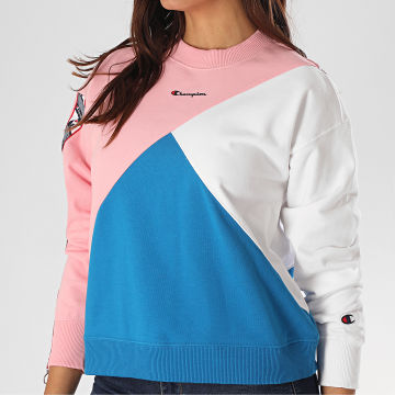 Champion - Sweat Crewneck Femme Tricolore 112759 Rose Blanc Bleu