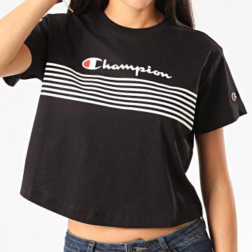 Champion - Tee Shirt Crop Femme 113098 Noir