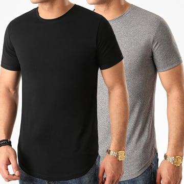 LBO - Lot de 2 Tee Shirts Oversize 1030 Noir Et Gris Anthracite Chiné
