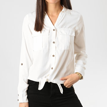 Only - Chemise Manches Longues Femme Karla Ecru