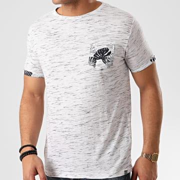 La Maison Blaggio - Tee Shirt Poche Floral Meral Blanc Chiné Bleu Marine